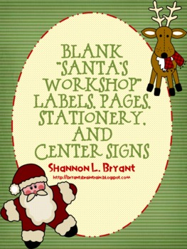 "Blank ""Santa's Workshop"" Labels, Pages, Stationery, and Center Signs"