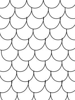 Blank Scalloped Fin Scales Patterned Coloring Pages By