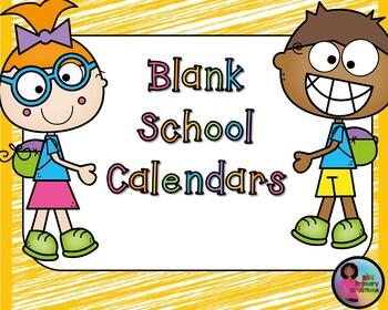 Blank School Calendars