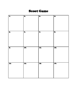 Blank Scoot Game Recording Sheet