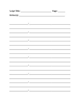 Blank Script Template By Media Nut Teachers Pay Teachers