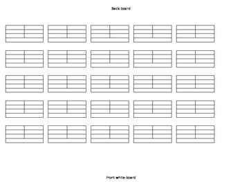 Blank Seating Chart 6 rows of 5 desks.