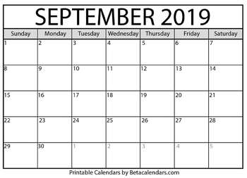 photograph regarding September Printable Calendar titled Blank September 2019 Calendar Printable