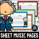 50 Blank Sheet Music / Manuscript Sheets - Classical, Pian