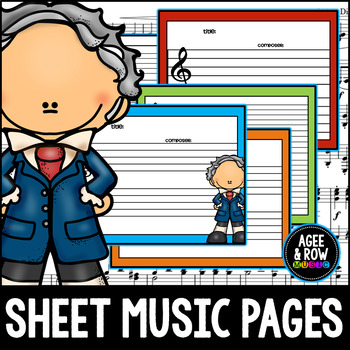 50 Blank Sheet Music / Manuscript Sheets - Classical, Piano, Composer