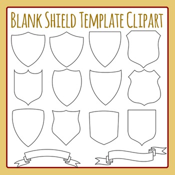 Blank Shield Templates Clip Art Set for Commercial Use