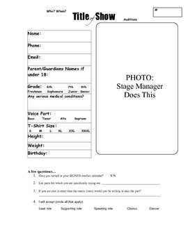 Blank Show Audition Forms