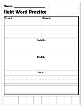 blank sight word template by amanda suchy teachers pay teachers