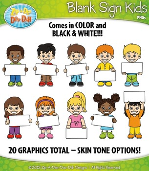 Blank Sign Kid Characters Clipart {Zip-A-Dee-Doo-Dah Designs}