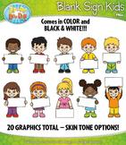 Blank Sign Kid Characters Clipart {Zip-A-Dee-Doo-Dah Designs}