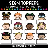 Blank Sign Kid Toppers Clipart
