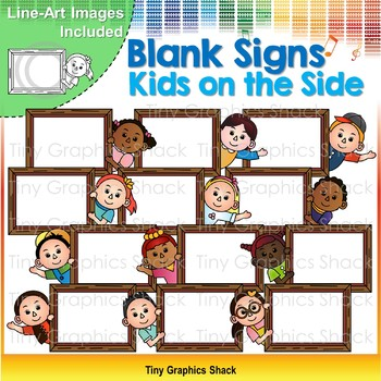 Blank Signs Kids Peeking From the Side