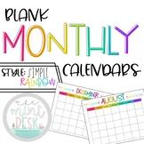 Blank Simple Rainbow Monthly Teacher Calendar
