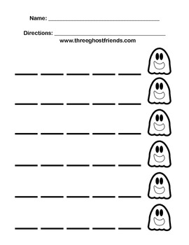 Blank Skip Counting Worksheet - Ghost Themed