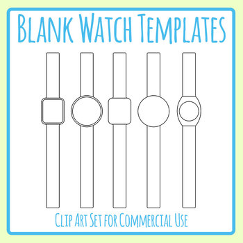 Blank Smart Watch Templates for Cutting and Wearing Craft Clip Art