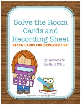 Blank Solve the Room Cards and Recording Sheet
