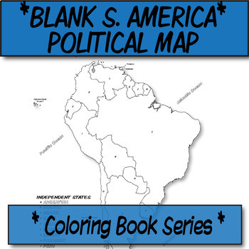 *Coloring Book Page*  South America Political Map