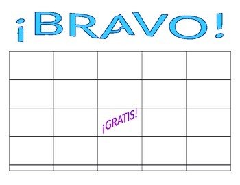 blank spanish bingo board bravo for any vocabulary or grammar review