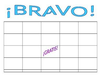 "Blank Spanish BINGO Board / ""BRAVO"" - For Any Vocabulary o"