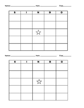 Blank Spanish Bingo Board