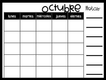 Blank Spanish Calendar