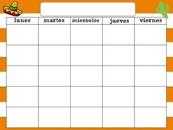 Blank Spanish Calendar Templates