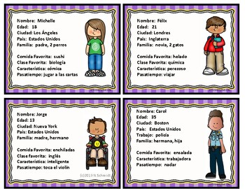 Spanish Character Cards - Talking about Friends (Icebreaker)