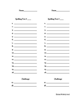 Blank Spelling Test Made for Use with Journeys Program (3rd Grade)