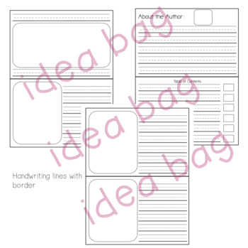Blank Book Template for Story & Writer's Workshop - Landscape Format (Idea Bag)
