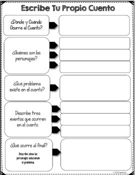 Blank Story Template, Spanish, Graphic Organizer, Writing, Print and Go