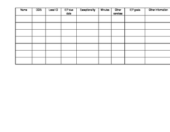 Blank Student Info for SPED