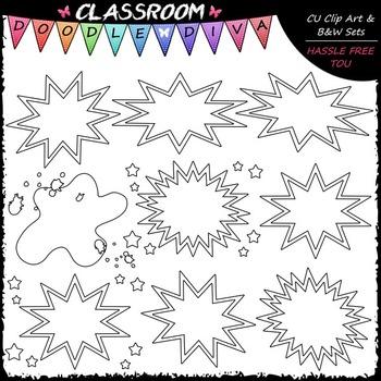 Blank Superhero Bubbles Art Clip Art - Headers - Labels Clip Art & B&W Set
