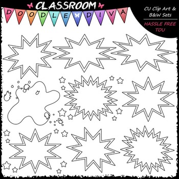 Blank Superhero Bubbles Art Clip Art - Headers - Labels Clip Art & B&W Set