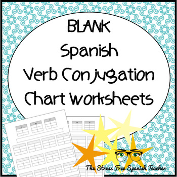 Blank T Chart, Verb Conjugation Worksheet, For Spanish Class  Blank T Chart