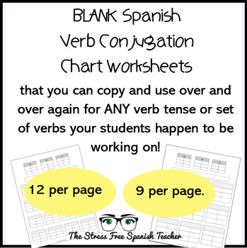 Blank T Chart, Verb Conjugation Worksheet, for Spanish class