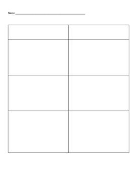 Blank T-chart Template