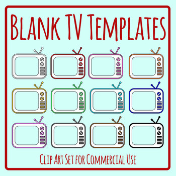 Blank TV Templates Television Clip Art Set for Commercial Use
