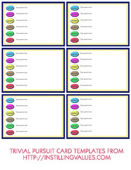 Blank Tab and Type Trivial Pursuit Cards