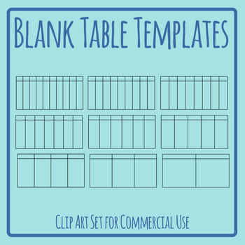 Blank Table Graphic Organizer Clip Art Set for Commercial Use