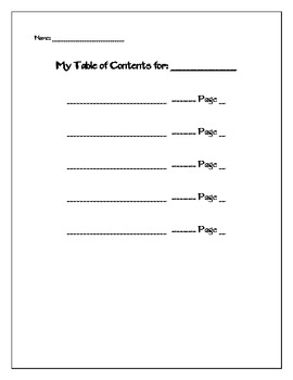 blank table of contents teaching resources teachers pay teachers