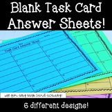 Blank Task Card Answer Sheets