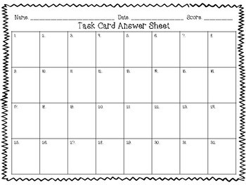 Blank Task Card Answer Sheets