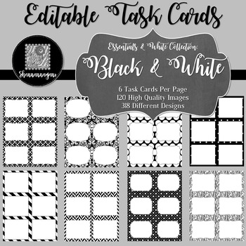 Blank Task Cards (6 per page) - Essentials & White: Black & White
