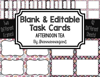Blank Task Cards: Afternoon Tea Collection (300dpi) | Editable PowerPoint