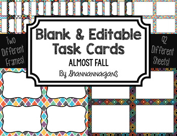 Blank Task Cards: Almost Fall Collection (300dpi) | Editable PowerPoint