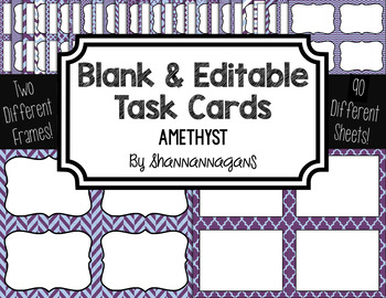 Blank Task Cards: Amethyst Collection (300dpi)   Editable PowerPoint
