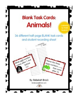 Blank Task Cards: Animals! 36 Numbered, Blank Task Cards R