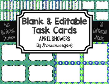 Blank Task Cards: April Showers | Editable PowerPoint