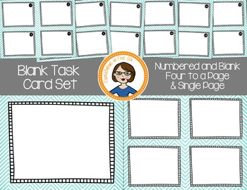 Blank Task Cards - Numbered and Empty - Aqua Chevron