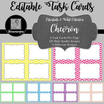 Blank Task Cards - Basics: Chevron & White   Editable PowerPoint